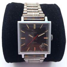 Soviet SLAVA WindUp Watch with bracelet Black Dial Serviced *US SELLER* #898