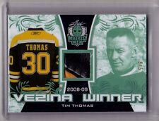 TIM THOMAS 16/17 Leaf Masked Men Vezina Winner EMERALD Leather Pad Patch #5/5 SP