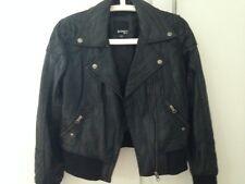 Barneys Originals Veste Blouson noir en cuir Femme Taille UK10/ Eur 38