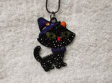 Cartoon Black CAT Inspired Large Charm NECKLACE Snake Chain Kitty Halloween