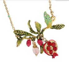 Jewelry Female fashion Pomegranate flower necklace Enamel copper Gold plating