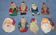 Lot of 8 Christmas SANTA CLAUS Head Old World Star Body Refrigerator Magnets