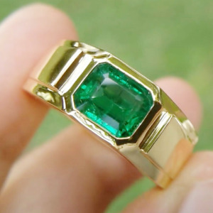 2.00 Ct Emerald Green Sapphire Solitaire Engagement Ring 14k Yellow Gold Plated