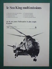 12/70 PUB WESTLAND SEA KING HELICOPTER ROYAL NAVY RESCUE ASM ASW SAR FRENCH AD