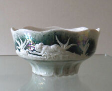 VICTORIAN LUSTRE WARE BOWL - SCANTILY CLAD MAIDEN/SWANS  **