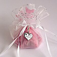 Wedding Favour White Organza Bag Round & Thanks For Coming Heart Charm Silver