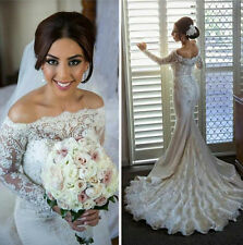 Sexy Mermaid White/Ivory Wedding Dress Bridal Gown Custom Made Plus Size 2-28
