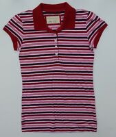 Aeropostale Shirt Womens Size M/M Red White/Pink Striped Polo Shirt Great