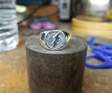 Sterling Silver Ring, with tv flash logo, hand carved, nice style
