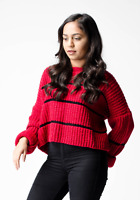 ex ASOS Red Chunky Crop Sweater Jumper with Contrast Ladder Stitch RRP £28 4-18