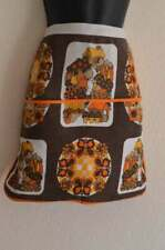 Ladies Lovely Vintage 1950s Style Brown Floral Double Pocket Half Apron