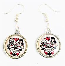 Rockabilly Silver Tone Earrings Jewellery Tattoo Sailor Jerry Pin Up Girl Retro