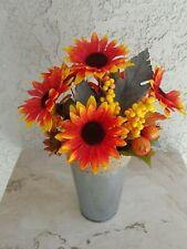 "14"" Tall Fall Table Centerpiece. Silk Flower Floral  orange yellow Arrangements"