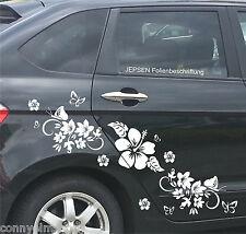 Tatuaje de coche Kit Set Autoadhesivo C49 Sr. - Mariposas Flores Hibiskus hojas