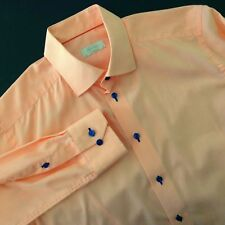 Eton of Sweden Luxury Shirt Contemporary Fit Orange Stripe Navy Blue Size 41 16