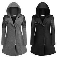 Women Zip Up Hooded Coat Ladies Winter Warm Long Hoodies Parka Woolen Jacket 5XL
