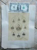 RARE LG 1864 Antique Oversized Photo, 8 CIVIL WAR UNION GENERALS, Grant, Sherman