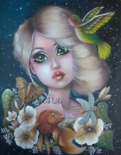 Fairy anime Disney Big eyes art pop surrealism Fantasy butterfly painting