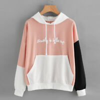 Womens Casual Letters Long Sleeve Hoodie Sweatshirt Hooded Pullover Tops Blouse