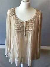 Next Sheer Pleated Top, Blouse, Fawn, Beige