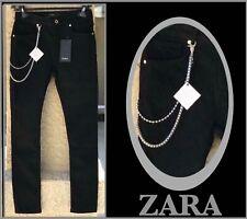 ZARA BLACK SKINNY FIT DENIM PANTS wWAIST REMOVABLE CHAIN Sz 31 40 NWT 0840/324