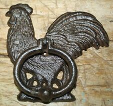 Cast Iron Antique Style Rustic ROOSTER Door Knocker Brown Finish CHICKEN Farm