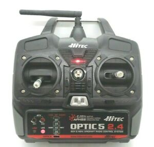 Hitec Optic 5  2.4GHZ 5 Channel Transmitter excellent condition boxed + manual