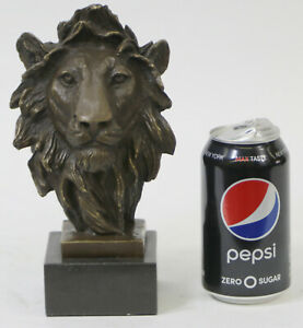 Bust Male Lion 100% Bronze Sculpture Statue Figurine Figure by Barye Art Deco
