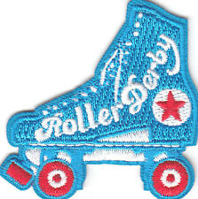 """ROLLER DERBY"" PATCH w/SKATE- Iron On Embroidered Patch - Skates, Sports, Words"