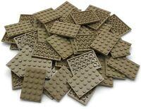 Lego 50 New Dark Tan Plates 4 x 6 Dot Pieces Parts