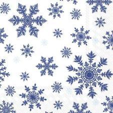 Paper Napkins Falling Snowflakes 3ply Disposable Festive Lunch Party Serviettes