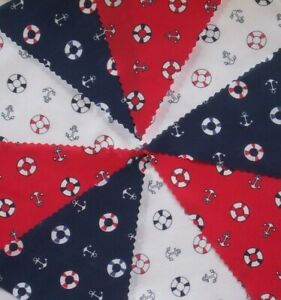 NEW Nautical Red White Blue Fabric Bunting Party Decoration 4mts or more