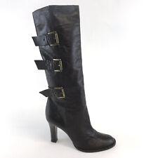 Shellys London Brown Leather Knee High Buckles Pull On Heels Booties Boot 37 UK4