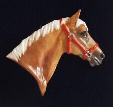 Fine Bone China Horse Brooch - Horse in Head Collar - Golden Palomino