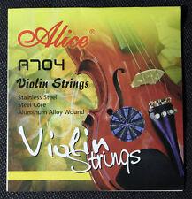 Cuerdas de violín tipo A704 Núcleo de Acero Aluminio herida Talla 4/4 Muy Buena Calidad
