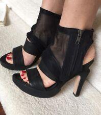 LD Tuttle Black Draped Mesh Sandal Boot Size 38/7