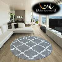 AMAZING THICK MODERN RUGS SKETCH Trellis GREY WHITE F343 CIRCLE BEST-CARPETS
