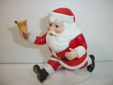 """Vintage George Good Porcelain Running Santa With Bell 3 1/4"""" Tall"""