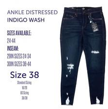 LuLaRoe 38 INDIGO ANKLE DISTRESSED DENIM Skinny Fit Lycra Jeans NWT!