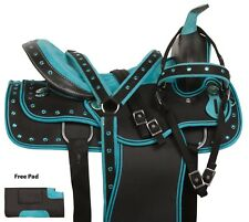 COMFY SYNTHETIC WESTERN HORSE SADDLE TEAL CRYSTAL TACK SET PAD 14 15 16 17 18