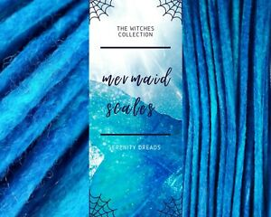 Serenity Dreads- 10 Mermaid scales Wool Dreads Dreadlocks double ended Long