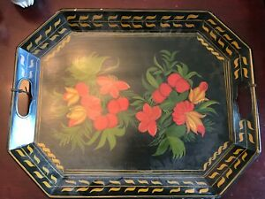 Vintage Hand-Painted Tole Tray Signed by Ethel Jordan 1972