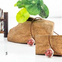 Fashion Pendant Flower Crystal Glass Necklace Dried Dandelion Dried Flowers