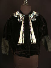 Rare French Victorian Black Embroidered Velvet Top