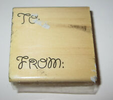 To From Rubber Stamp Gift Tag Wood Mounted
