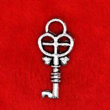 15 x Tibétain Argent Amour Cœur Pendentif Charme clés trouver Perles Fabrication de Bijoux