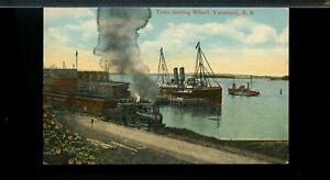 Train leaving Wharf, Yarmouth, NS,  unused post card Canada