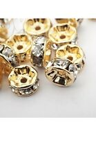 40 Pcs Gold Plated White Crystal Spacer Beads