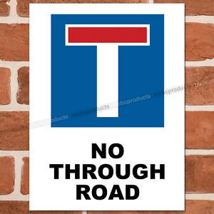 NO THROUGH ROAD Metal Signs Dead End Street Road Cul De Sac Sign Wall Tin Plaque