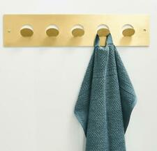 Brushed Gold 5 Hooks Robe Towel and Coat Hook Round Hanger Brass For Bathroom